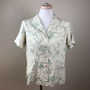 Tommy Bahama 100% Silk Floral Hawaiian Shirt